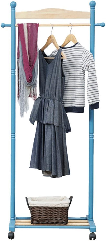 Coat rack Wood Hanger Hanger Living Room Bedroom Hanger Hanger H165CM W74CM, bluee