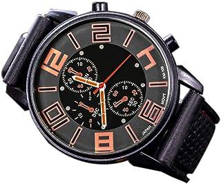 Andoer Fashion Men Luxury Stainless Steel Quartz Sport Silicone Band Dial Wrist Watch Orange