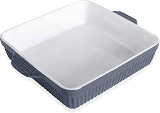 Kanwone Baking Dishes, Ceramic Bakeware, Square Casserole Dish with Double Handle, Lasagna Pans for Cooking, Kitchen, Cake Dinner, 8 x 8 Inches, Stripe Series - Grey