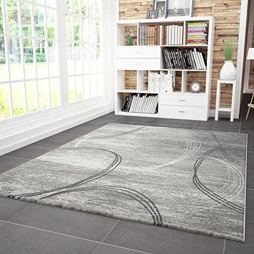 VIMODA Designer Teppich Modern Kreisel Muster Meliert in Grau Schwarz, Maße:160x230 cm