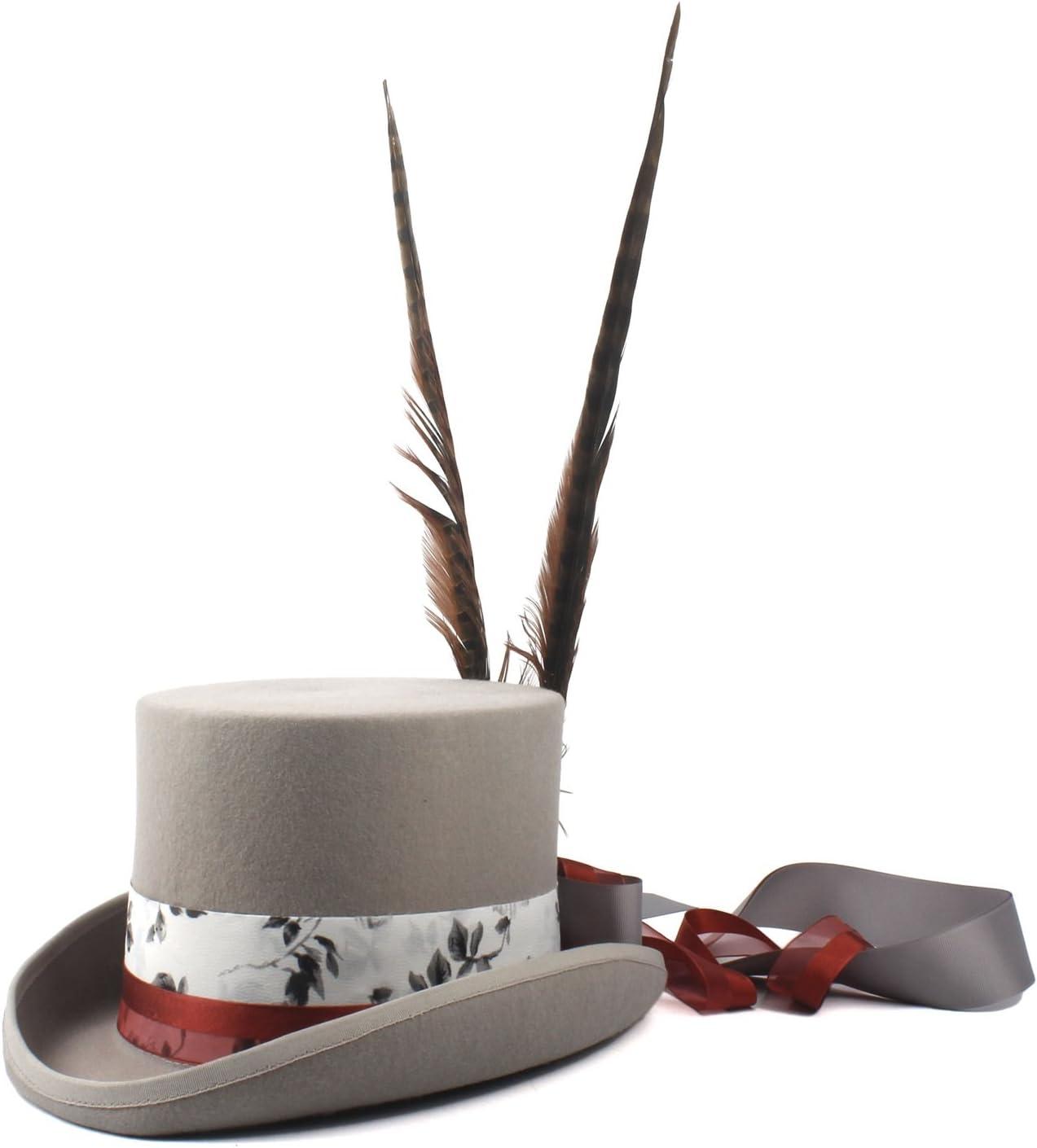 TWEITIE Women's Steampunk Top Hat Wool Grey Fedora Punk Long Feather (Color : Gray, Size : 57CM)