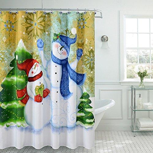 "BH Home & Linen Season's Greetings Christmas Holiday Fancy Fabric Shower Curtain 100% Polyester 70"" x 72. (Christmas Snowman)"