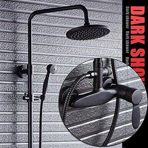 DKEE Equipo de Ducha Conjunto De Ducha De Grifo De Ducha De Bronce Negro Conjunto De Ducha De Lluvia Europea De Latón Spray De Baño Retro