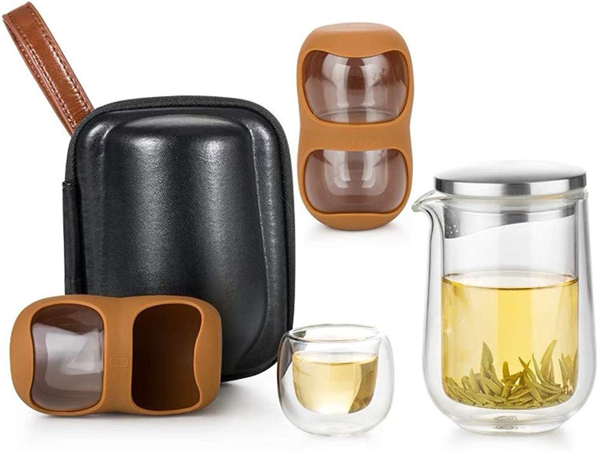 Hehh Tuoba Fish Ensemble de thé, Ensemble de Tasses en Verre de Voyage, Un Pot et Quatre Tasses, portable de Voyage créatif en Plein air