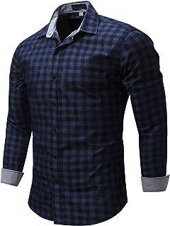 SSBZYES Camisa De Manga Larga para Hombres Camisa a Cuadros para Hombres Camisa De Manga Larga Informal De Algodón De Gran...