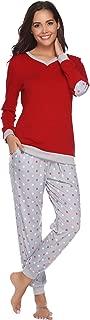 Hawiton Women's Cotton Long Sleeve Pajamas Set Sleepwear Dot Pattern Bottom Lounge Nightgowns