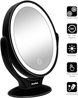 Double Sided LED Makeup Mirror with Lights, Lighted Makeup Vanity Mirror 1x/7x Magnification 360 Degree Free Rotation with Touch Screen Dimming,Portable USB Chargeable Tabletop Magnifying Mirror (Black)