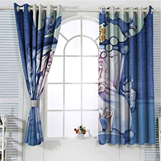 Jinguizi Grommet Window Curtain Kitchen Curtain Surrealistic,Nightmare of A Sheep Counting Wolfs in Sleep Time Bed Caricature Image,Violet Blue Lilac Curtain Holdback 55 x 63 inch