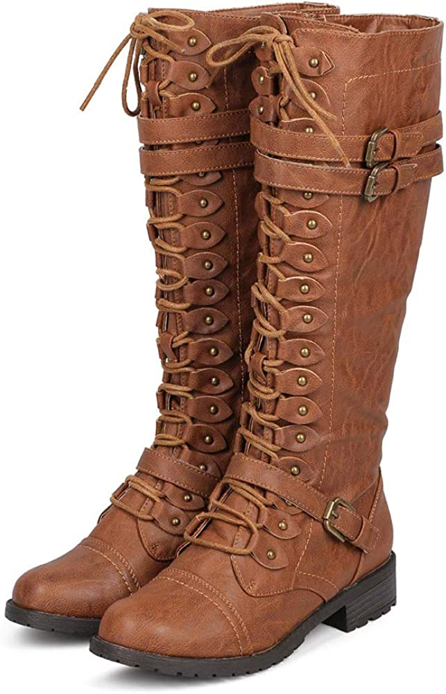 ShoBeautiful Women's Knee High Lace Up Buckle Winter Combat Stacked Heel Riding Boots