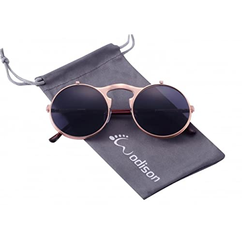 WODISON Steampunk Style Sunglasses Flip up Round Lens for Men Women with Pouch