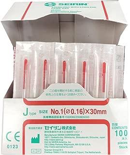 セイリン鍼灸針 Jタイプ (プラスチック針管付) (SJ-217) (針長30mm、レッド(線径0.16mm))