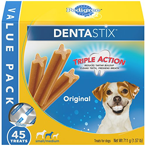 PEDIGREE DENTASTIX Small/Medium Dog Dental Treats Original Flavor Dental Bones, 1.57 lb. Value Pack (45 Treats)