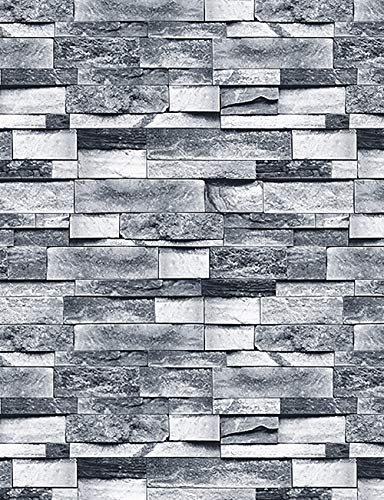 ConCus-T Grey Brick Wallpaper Self Adhesive Contact Paper Waterproof Kitchen Bathroom Bedroom Wall Sticker Peel and Stick 3D Slate Stone Brick Effect Wrapping Paper 45×600CM
