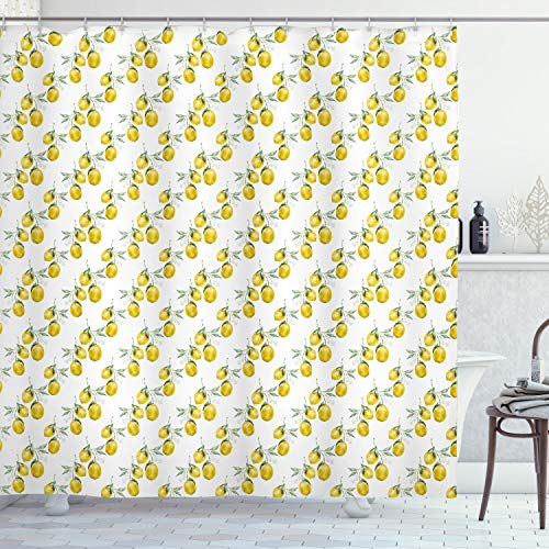 Ambesonne Nature Shower Curtain, Lemon Tree Branches Agriculture Kitchen Lemonade Citrus Figure Graphic Art, Fabric Bathroom Decor Set with Hooks, 70 Inches, Olive Green Yellow