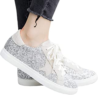 Coutgo Womens Star Fashion Sneakers Platform Glitter Low Top Lace Up Walking Flat Shoes