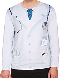 Rimi Hanger Adults Doctor Print Tshirt Costume Mens Long Sleeves 3D Digital Printing Stag Do Fancy Dress Nerd Costume