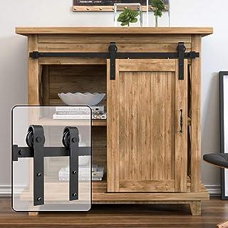 WINSOON 3FT Super Mini Sliding Barn Door Cabinet Hardware Kit for Single Door TV Stands Small Wardrobe Cabinets, J Shape H...