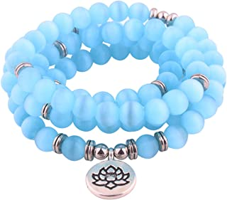 8mm 108 Mala Beads Wrap Bracelet Necklace for Yoga Charm Bracelet Natural Gemstone Jewelry for Women Men