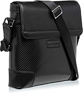 SAFEDOME Genuine Carbon Fiber Messenger Bag, Travel Accessories for Men, or Stylish Gifts for Men - Black - 15.3 x 11.4 x 2.36 inches