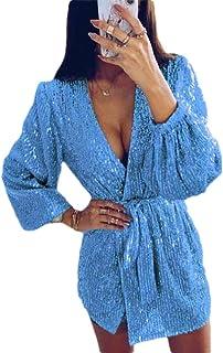 ouxiuli Vintage 50s Sequin Pencil Dress V Neck Glitter Dresses for Women