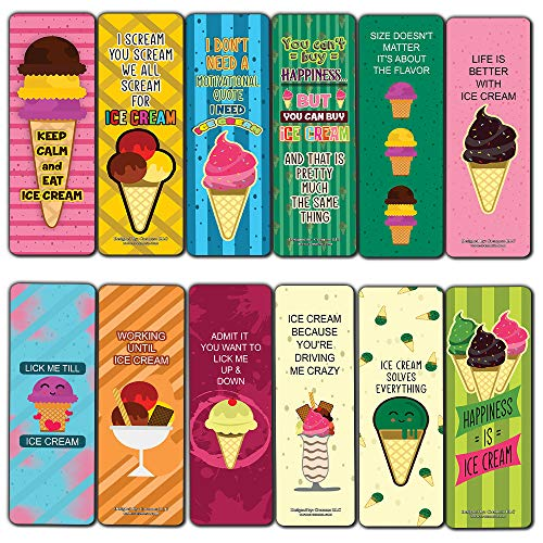 Funny Ice Cream Quotes Bookmarks (30-Pack) - Classroom Reward Incentives for Students and Children - Stocking Stuffers Party Favors & Giveaways for Teens & Adults