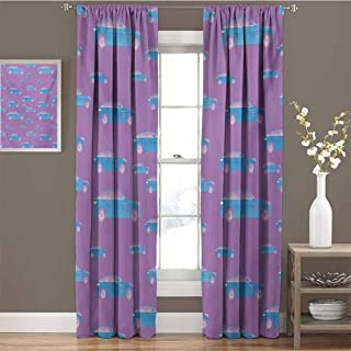 GUUVOR Cars Room Darkened Heat Insulation Curtain Blue Automobile on Pink Background Sports Car with Big Wheels and Tinted Windows Living Room W42 x L72 Inch Fuchsia Blue