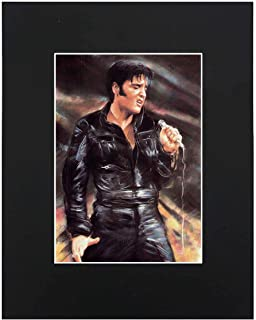 Elvis Presley Portrait 8x10 Black Matted Art Artworks Print Paintings Printed Picture Photograph Poster Gift Wall Decor Di...