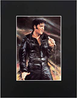 XQArtStudio Elvis Presley Portrait 8x10 Black Matted Art Artworks Print Paintings Printed Picture Photograph Poster Gift Wall Decor Display