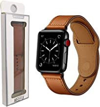 MEEFIX Genuine Stylish Leather Simpleness Strap Buckle Band Replacement for Apple Watch Series 4 3 2 1 (42/44mm, Brown)