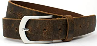Distressed Rose Belt - Nickel Smart - Brown Full Grain Leather Belt with Floral Pattern & Nickel Free Buckle