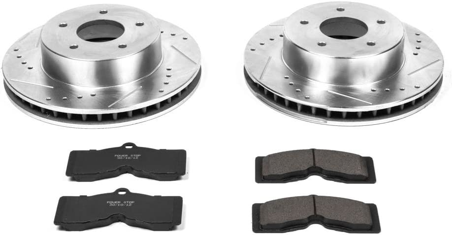 Power Stop Max 78% OFF K2598 Front Z23 store Carbon Fiber with Brake Pads Drilled