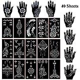Xmasir 40 Sheets Self-adhesive Henna Tattoo Stencils Set,Mehndi Template for Tattoo Body Art
