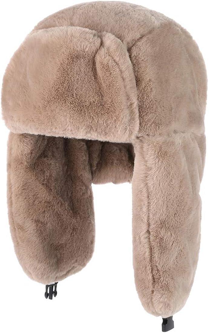 JUMJEE Trapper Bomber Hats Windproof Therma Russian Earflap Winter Snow Windproof Fur Hat