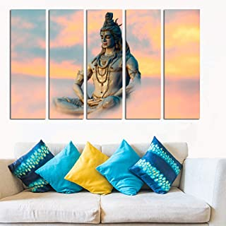 PARI ARTS Multiple Religious Wooden Framed Digital Beautiful Multiple Unique Lord Shiva Sparkle Print Art Wall Painting fo...