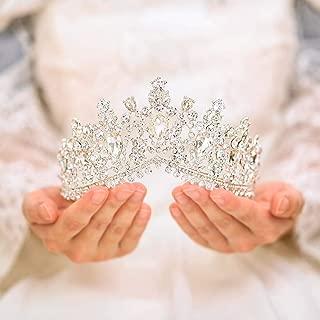Tgirls Bridal Wedding Crowns and Tiaras Bride Princess Rhinestone Headband Jewelry for Women and Girls (Silver)