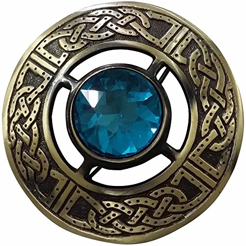 AAR Men's Kilt Brooch Pin Stones Scottish Fly Plaid Celtic Chrome Plated Norse Vintage Jewelry Sky Blue