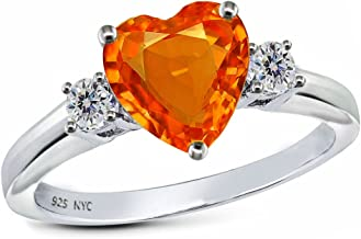 Star KSterling Silver 8mm Heart Shape three stone Promise Ring