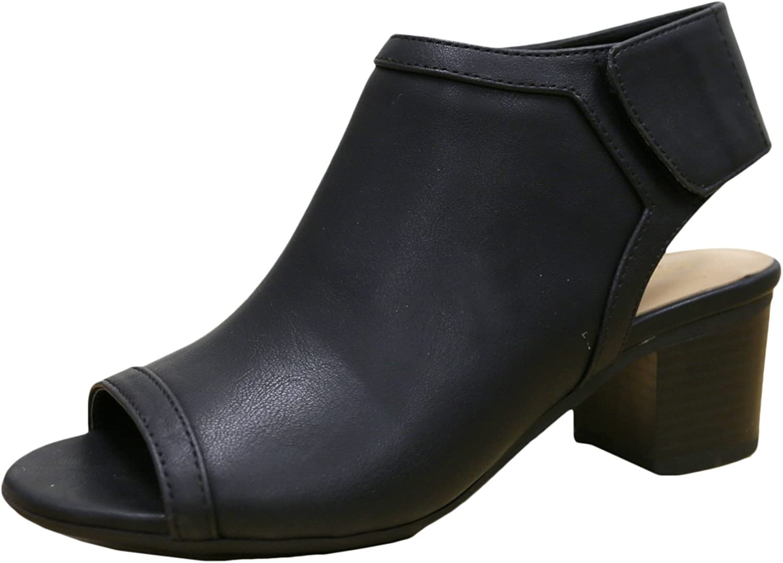 City Classified Women's Rolla Cutout Back Stacked Heel Peep Toe Bootie