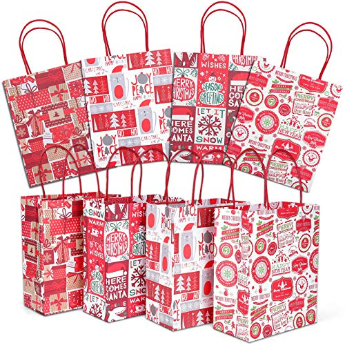 Christmas Gift Bags, 24 Count Christmas Bags for Gifts, Reusable Kraft Xmas Goody Wrapping Bags for Christmas New Year Holiday Party Treat Candy Supplies Presents