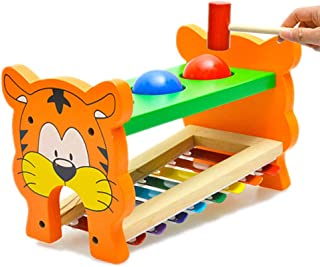 Lyguy Toy, 1 Set Tiger Music Eight Notes Wooden Toys Strike Hit Toy For Children Creativity Educational Toys Imaginary Game Colorful Kids Training Intelligent Play Enlighten