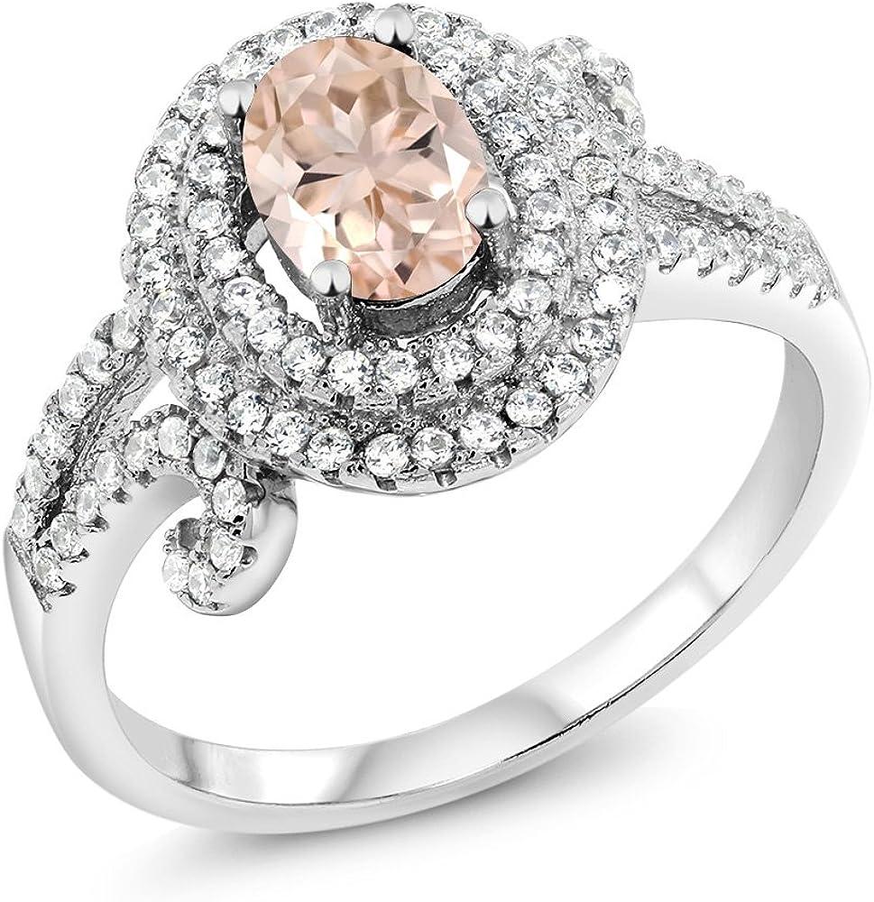 Gem Stone King 925 Sterling Ring Peach Jewelry [Alternative dealer] Albuquerque Mall Silver Morganite