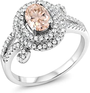 1.90 Ct Oval Peach Morganite 925 Sterling Silver Women's Ring (Available 5,6,7,8,9)