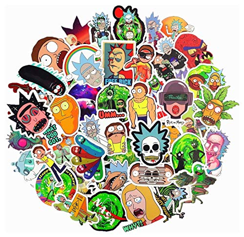 Rick and Morty Stickers Decals(50pcs),Laptop Vinyl Stickers for Waterproof Skateboard Snowboard Car Bicycle Luggage Decal(Rick and Morty)