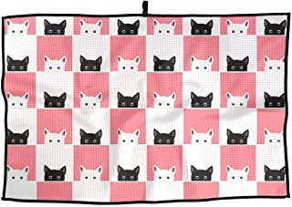 ZHXR Black White Pink Cat Chess Board Microfiber Golf Towel Comfortable Sports Towel Quick Dry Towel 15 X 24 Inch Cleaning Towel