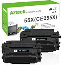 Aztech Compatible Toner Cartridge Replacement for HP CE255X 55X CE255A 55A (Black, 2-Packs)