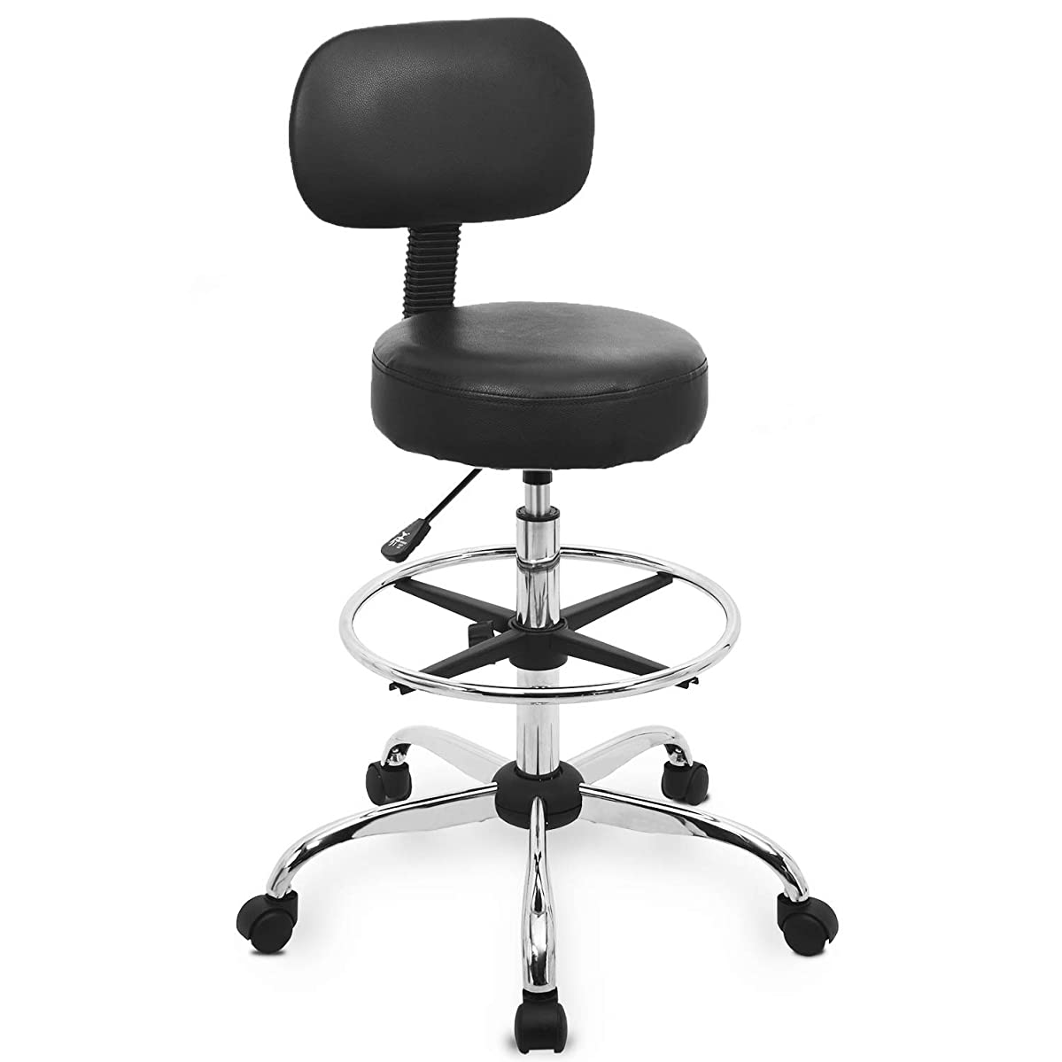 Urest Drafting Stool High Up Desk Chair Tall Rolling Bar Stool with Back Wheels and Foot Rest for Shop Workbench Lab Workshop Task Workpro Veer Esthetician in Black