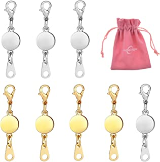 Aiskaer 8 pcs Magnetic Necklace Clasp Extender Gold and Silver Color Tone for Jewelry Bracelet(Gold+Silver)-2