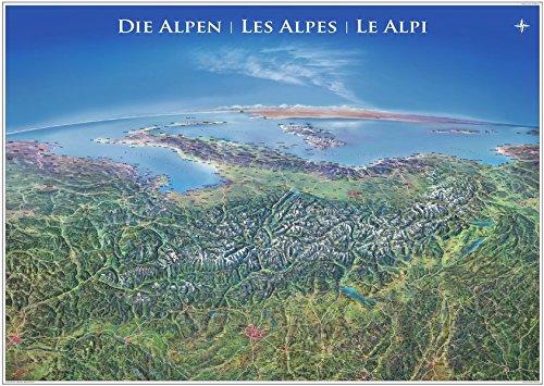 Panorama Alpen Poster: einseitig laminiert, mit Leisten