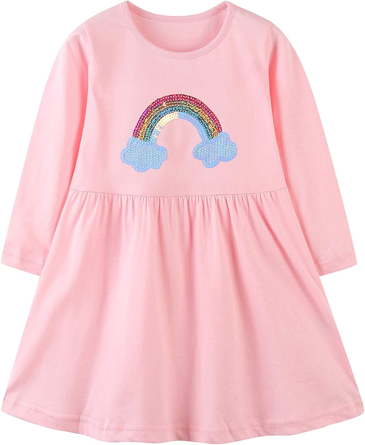 Bumeex Toddler Girl Clothes Cotton Long Sleeve Girls Dresses for Kids 1-7 Years