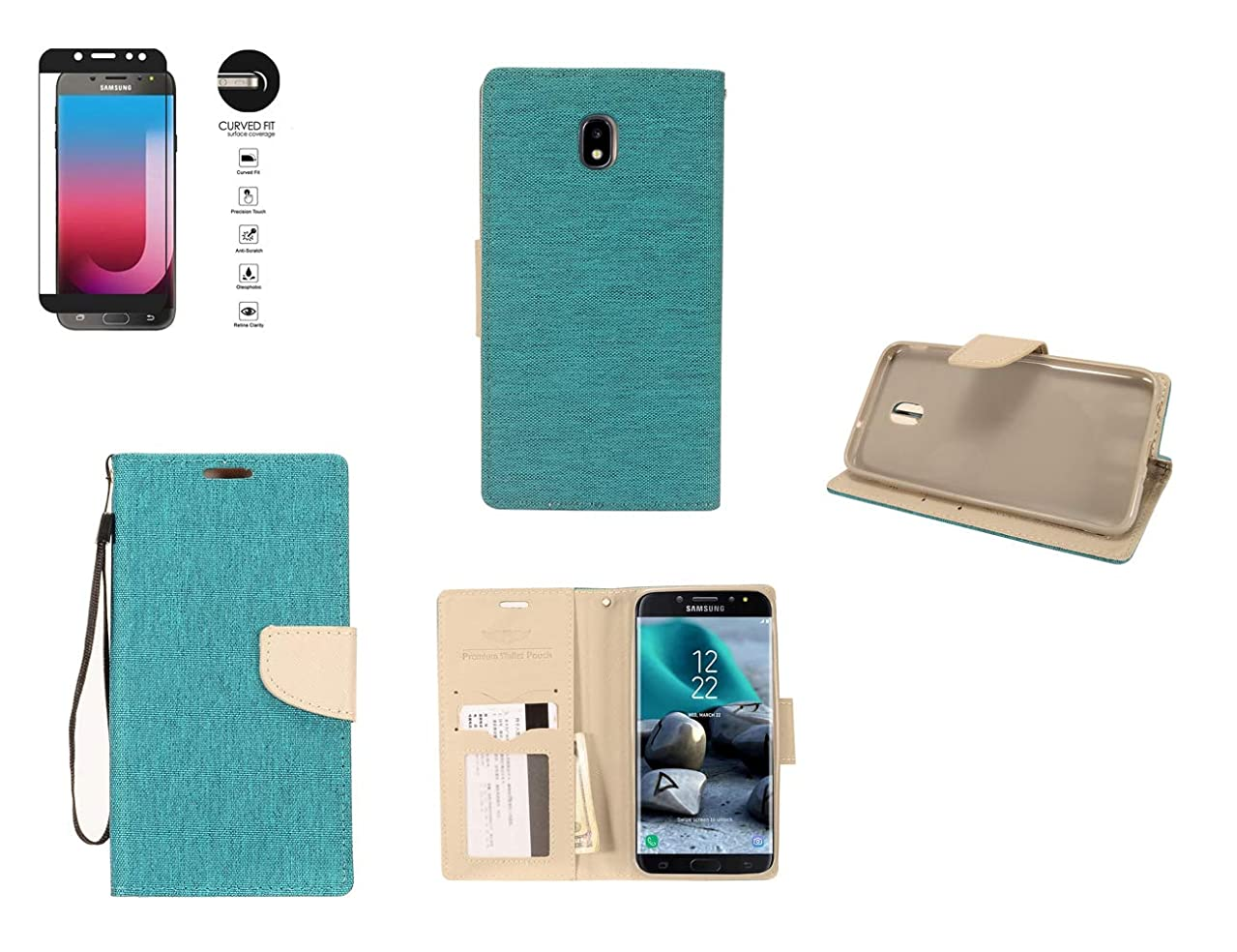 Tempered Glass+PU Leather Wallet Case Cover Card for Samsung Galaxy J7 Aero / J7 Aura / J7 Crown / J7 Refine / J7 Star / J7 V 2nd Gen / J737 / J7 2018 Phone (Teal Grey)